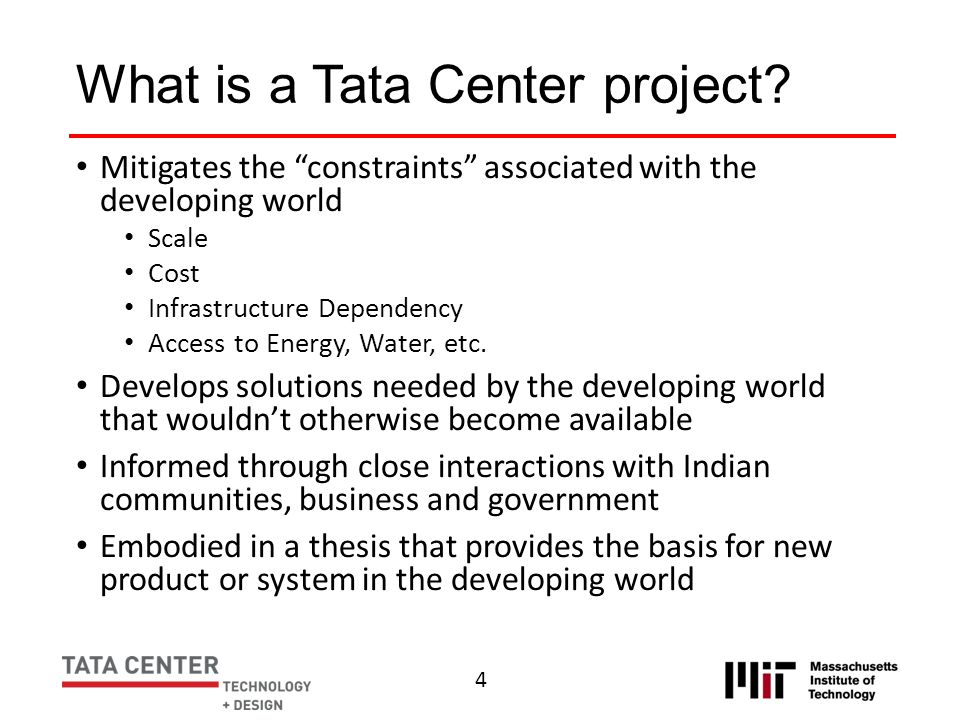 What is a Tata Center project
