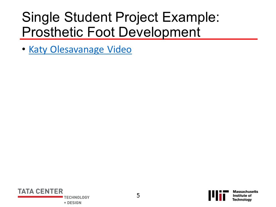 Single Student Project Example: Prosthetic Foot Development