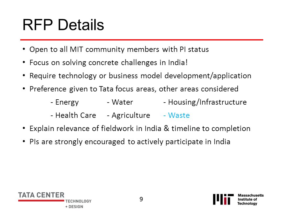 RFP Details Open to all MIT community members with PI status