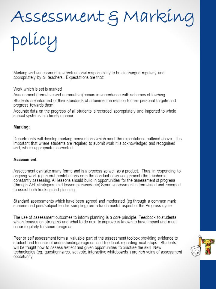 Assessment & Marking policy