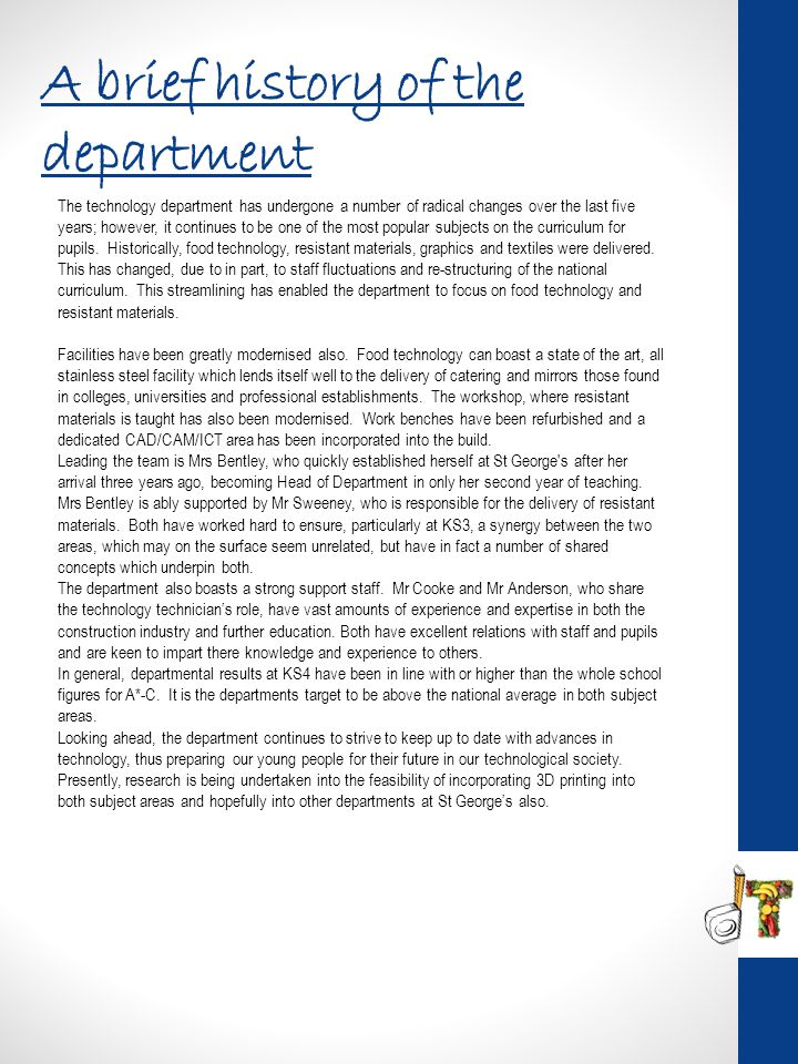 A brief history of the department