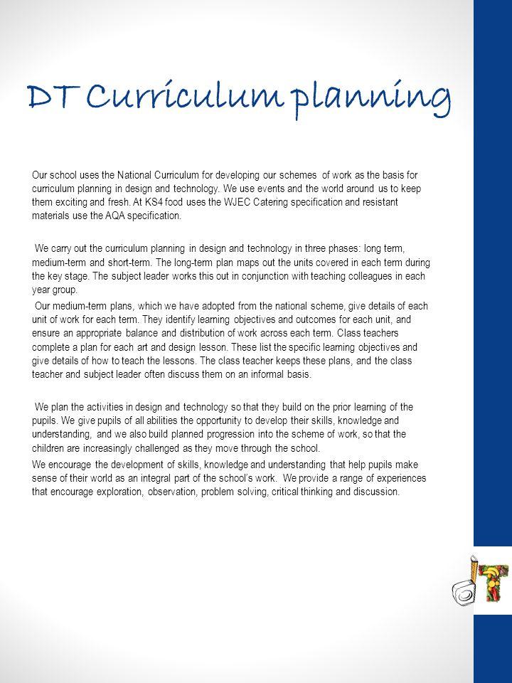 DT Curriculum planning