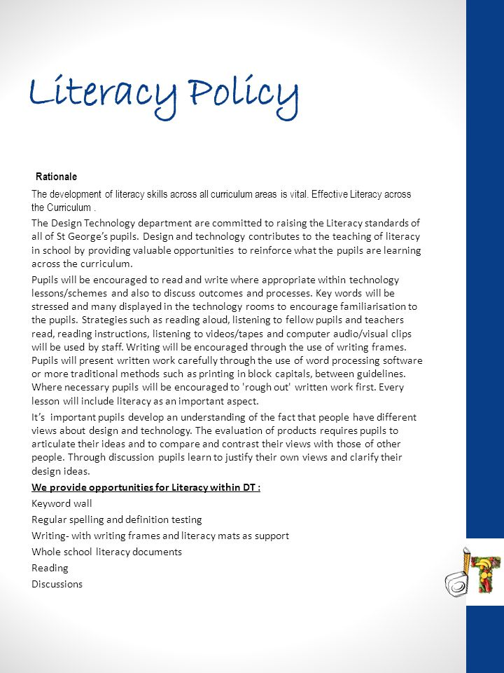 Literacy Policy Rationale
