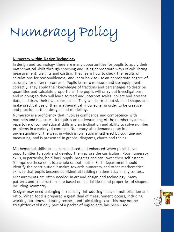 Numeracy Policy Numeracy within Design Technology
