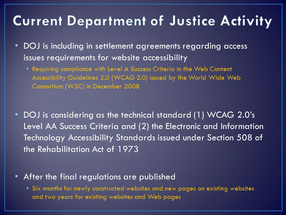 Current Department of Justice Activity