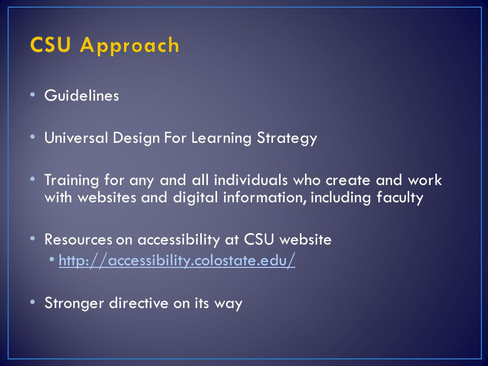 CSU Approach Guidelines Universal Design For Learning Strategy