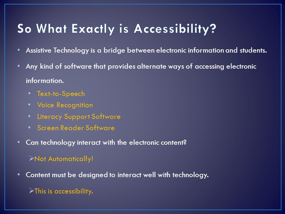 So What Exactly is Accessibility