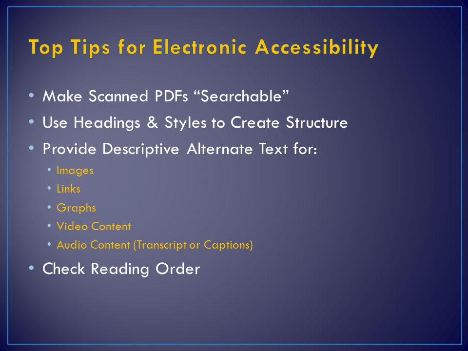 Top Tips for Electronic Accessibility
