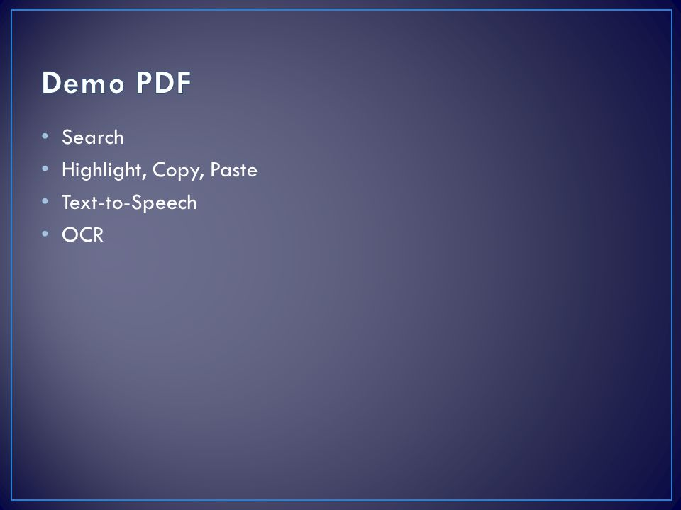 Demo PDF Search Highlight, Copy, Paste Text-to-Speech OCR