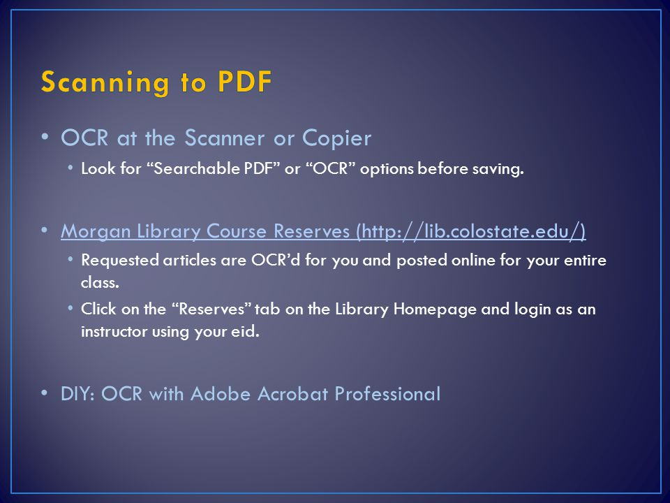 Scanning to PDF OCR at the Scanner or Copier