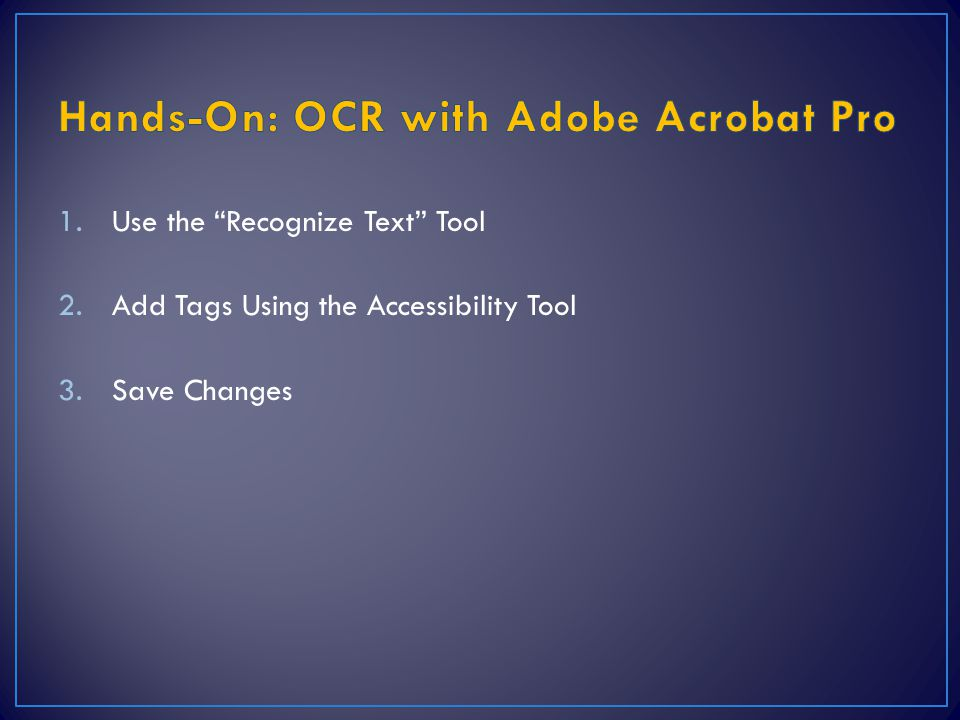Hands-On: OCR with Adobe Acrobat Pro