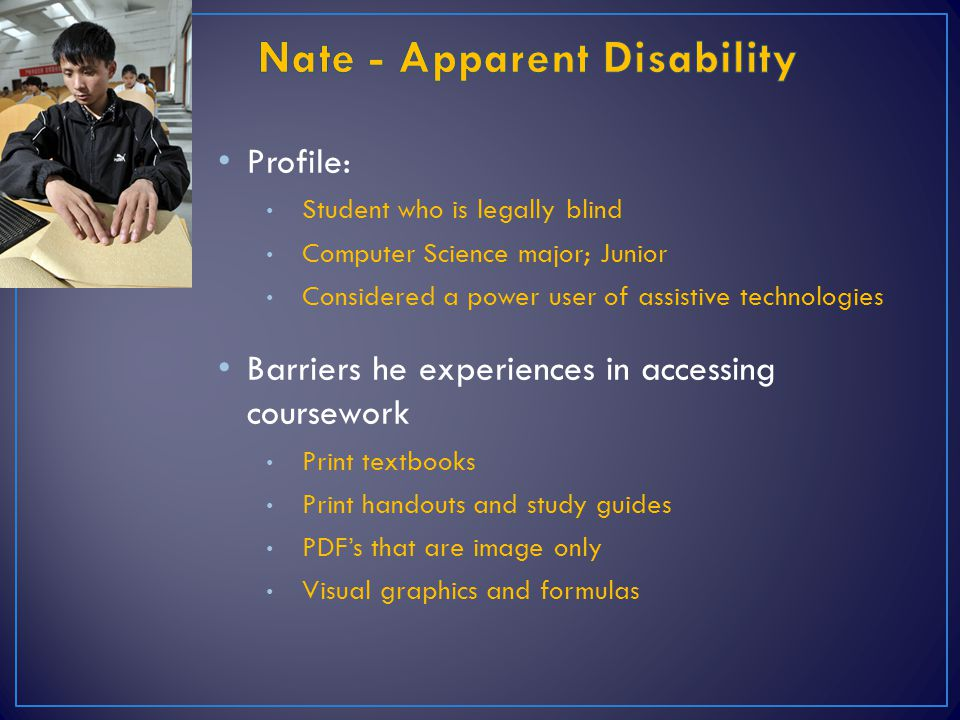 Nate - Apparent Disability