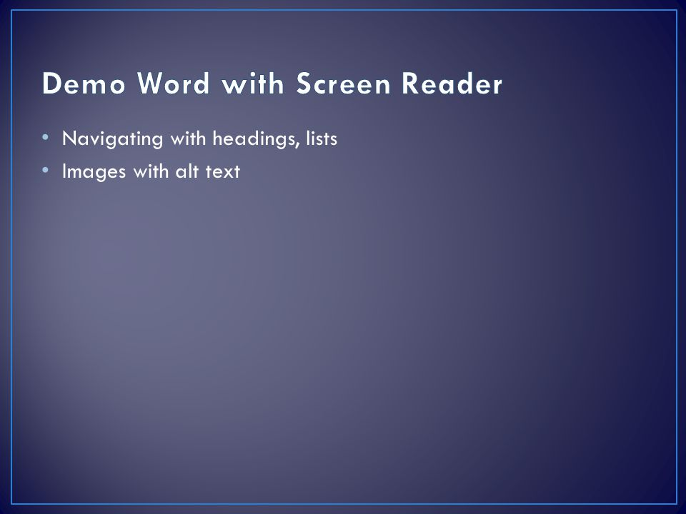 Demo Word with Screen Reader