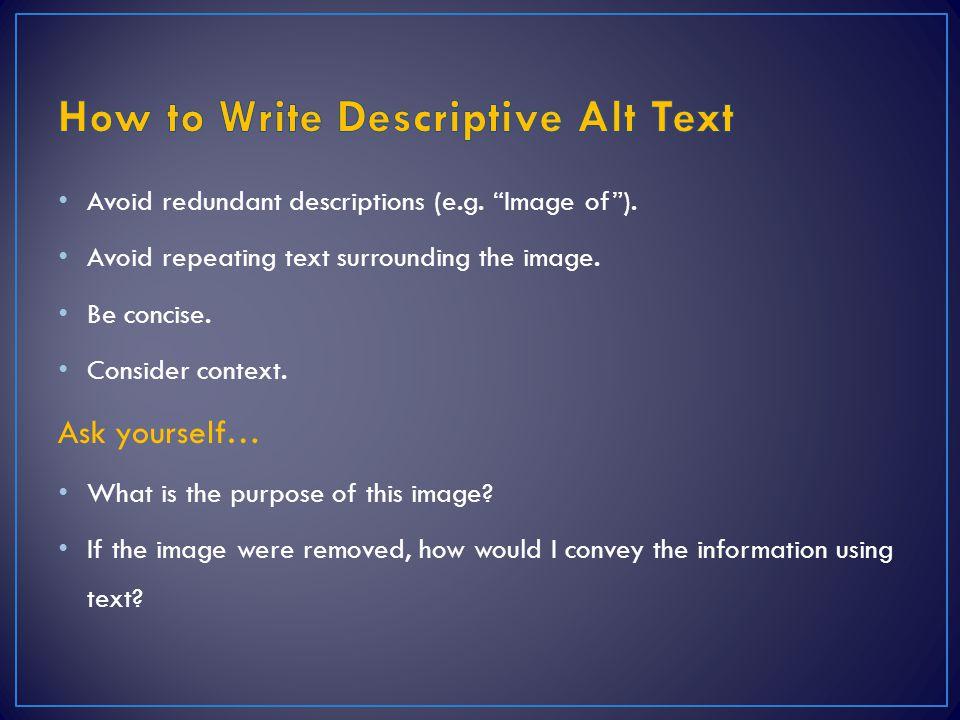 How to Write Descriptive Alt Text