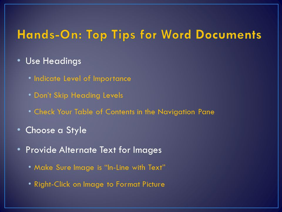 Hands-On: Top Tips for Word Documents