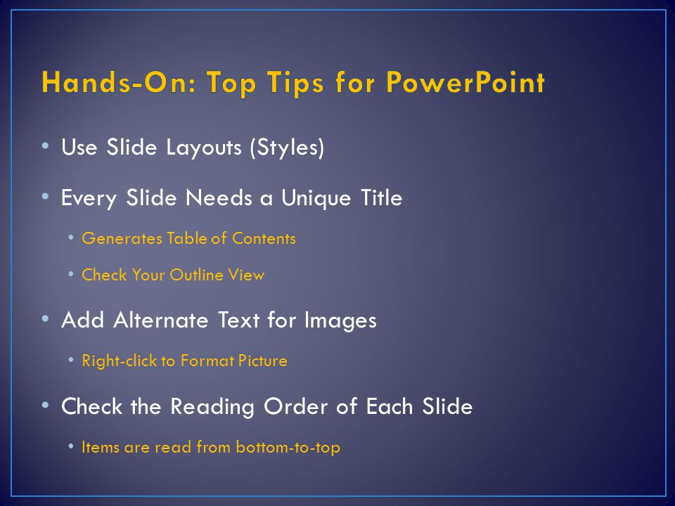 Hands-On: Top Tips for PowerPoint