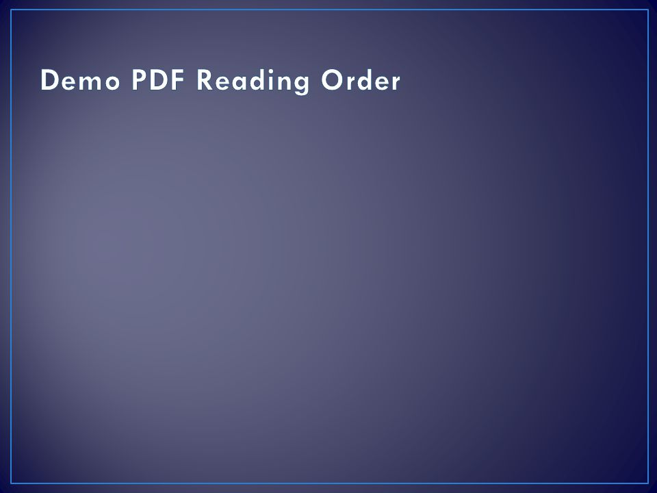 Demo PDF Reading Order