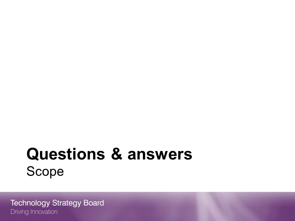Questions & answers Scope
