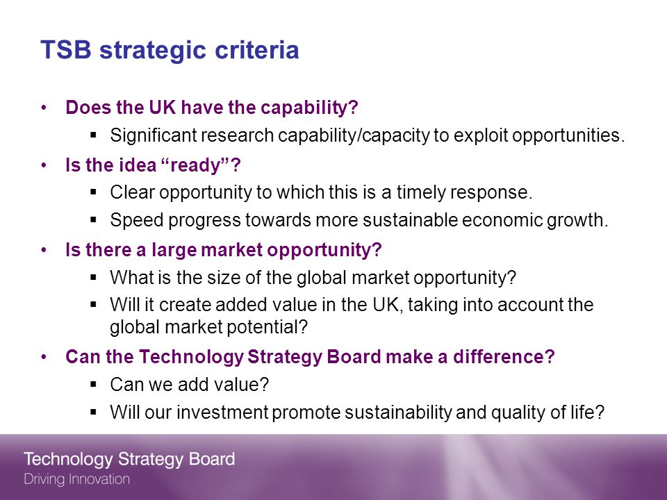 TSB strategic criteria