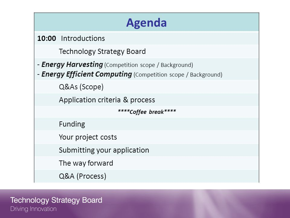 Agenda 10:00 Introductions Technology Strategy Board