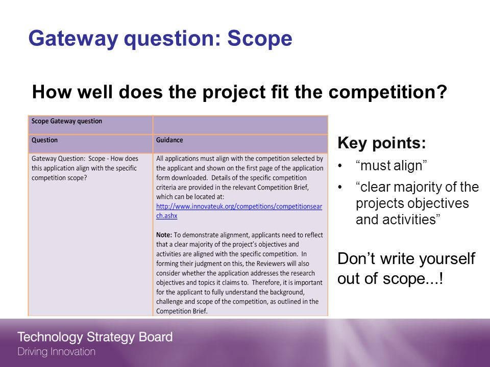 Gateway question: Scope