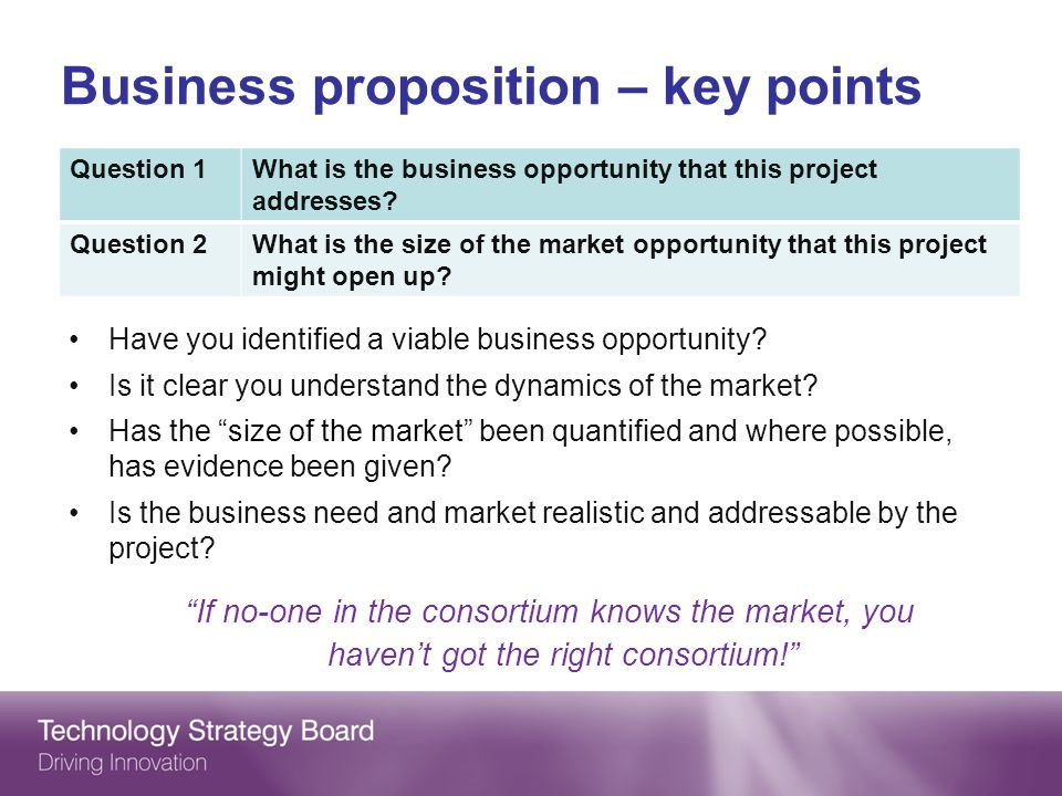Business proposition – key points