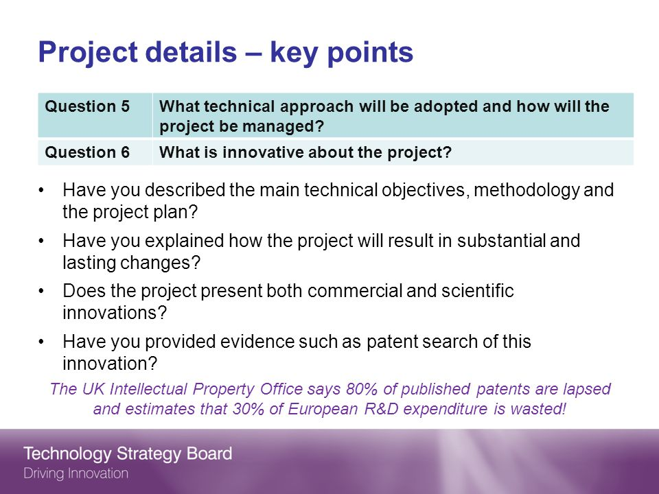 Project details – key points