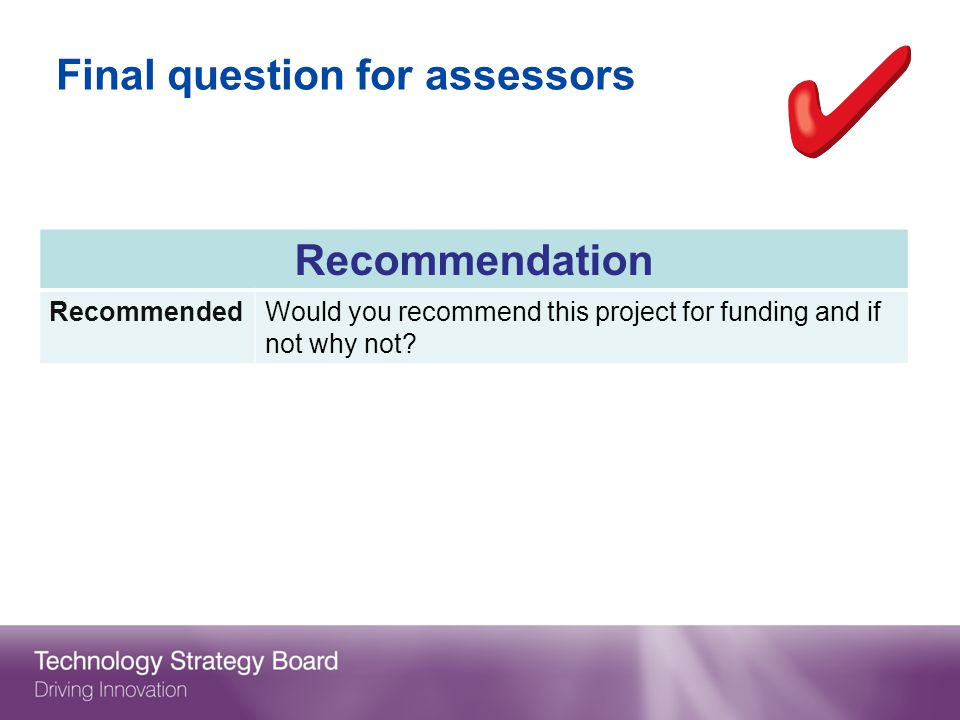 Final question for assessors