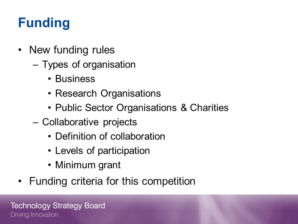 Funding New funding rules Funding criteria for this competition