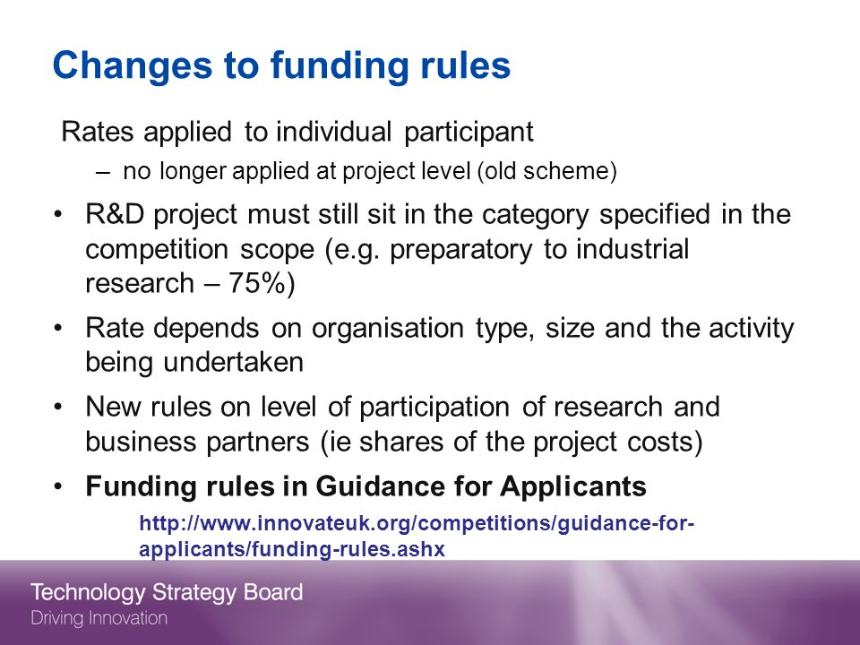 Changes to funding rules