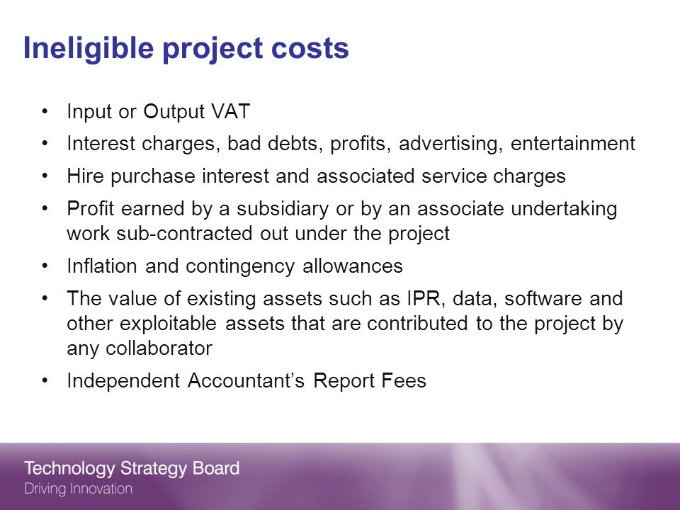 Ineligible project costs