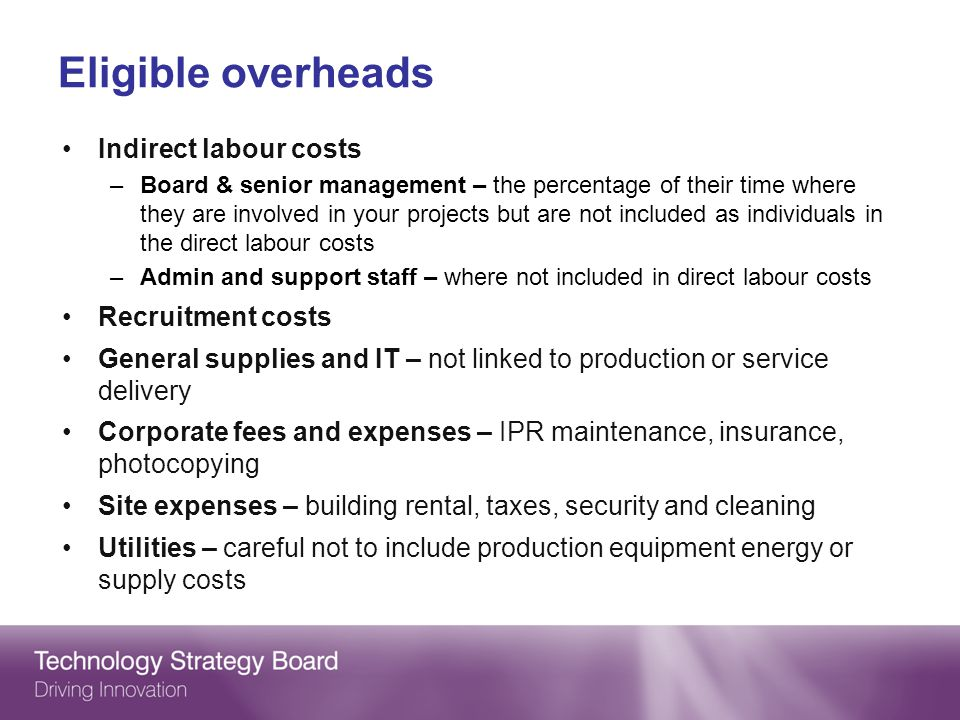 Eligible overheads Indirect labour costs Recruitment costs