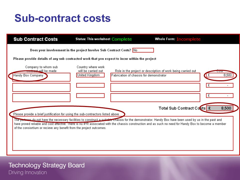 Sub-contract costs