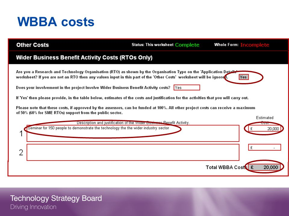 WBBA costs RTOs only.