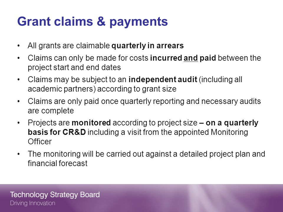 Grant claims & payments