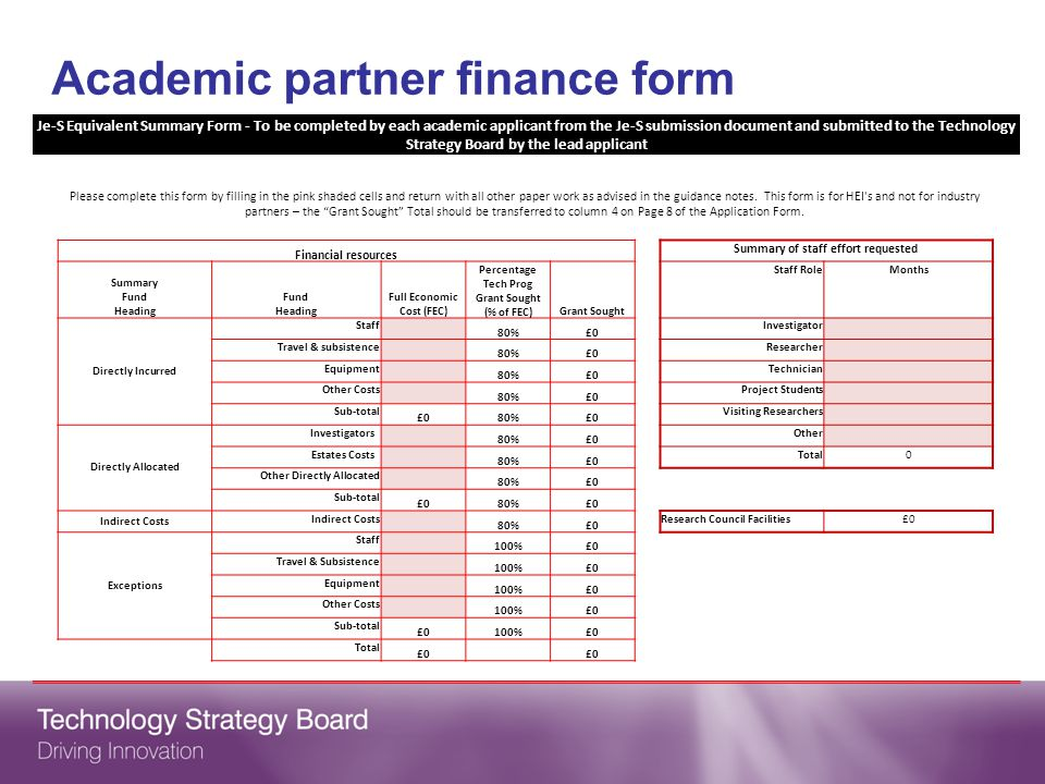 Academic partner finance form