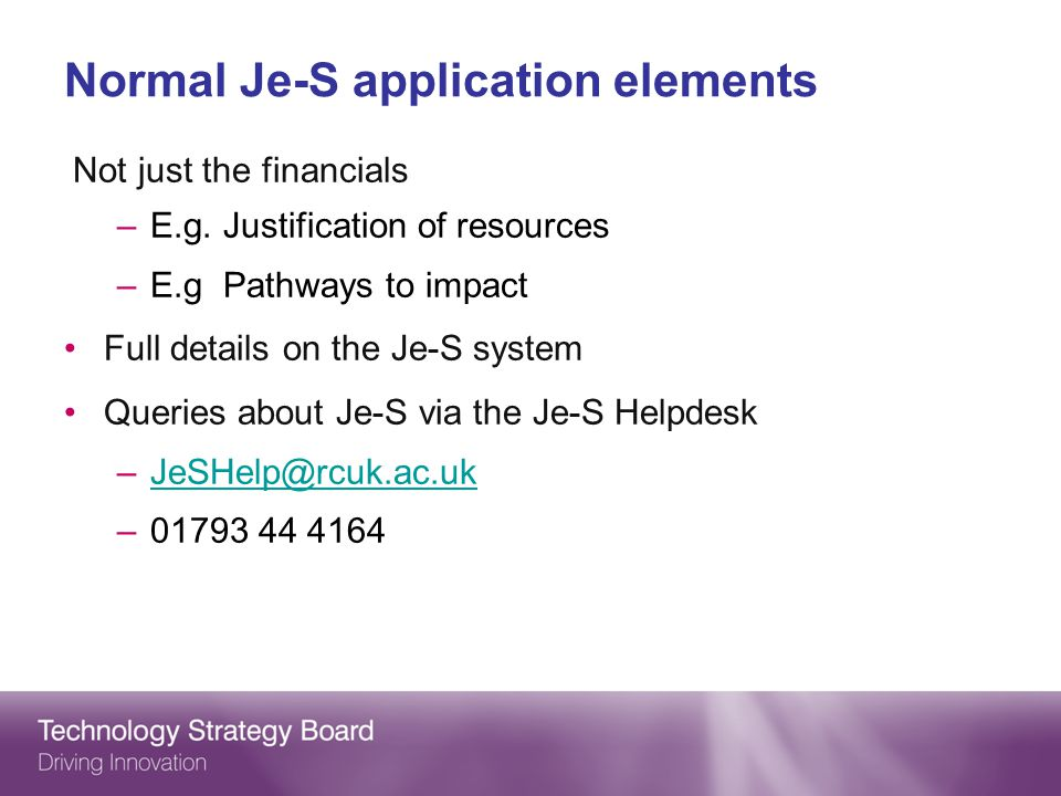 Normal Je-S application elements