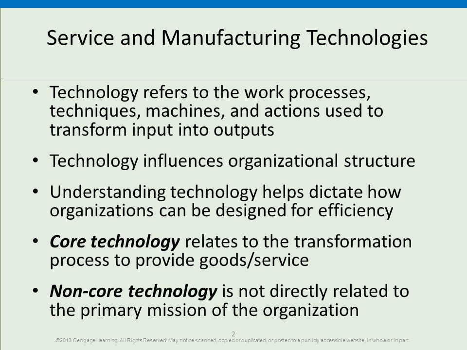 Service and Manufacturing Technologies