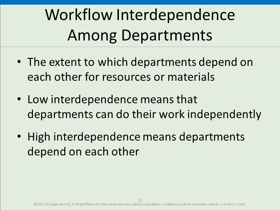Workflow Interdependence Among Departments
