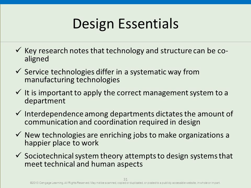 Design Essentials Key research notes that technology and structure can be co-aligned.