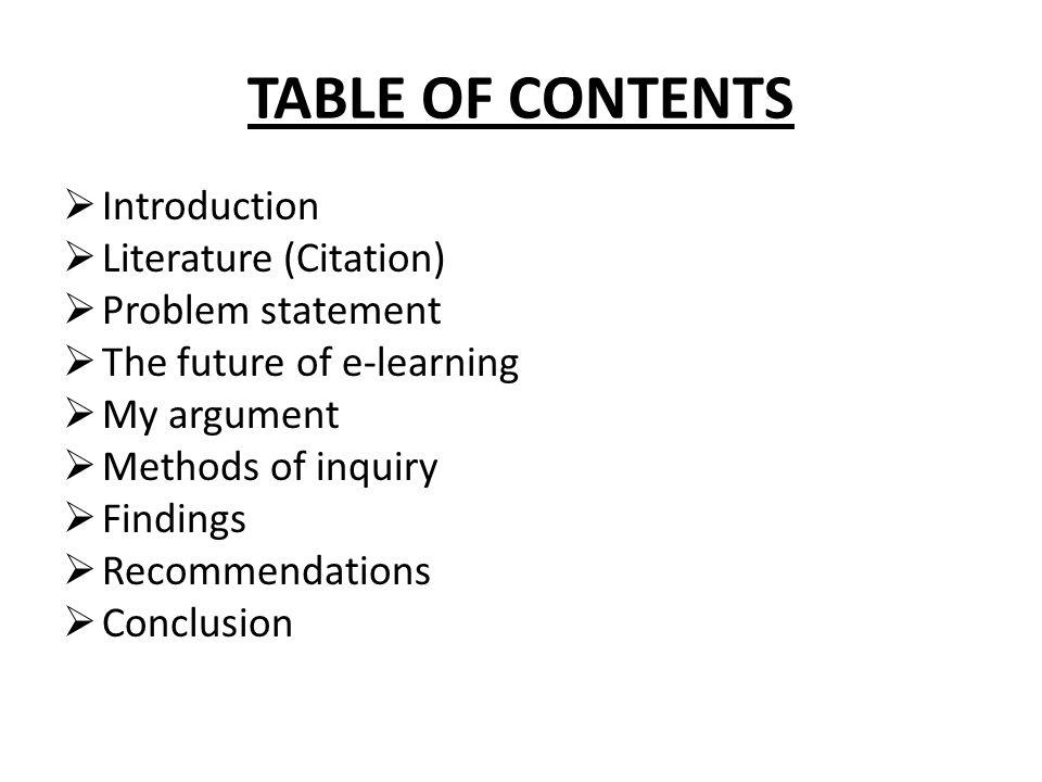 TABLE OF CONTENTS Introduction Literature (Citation) Problem statement