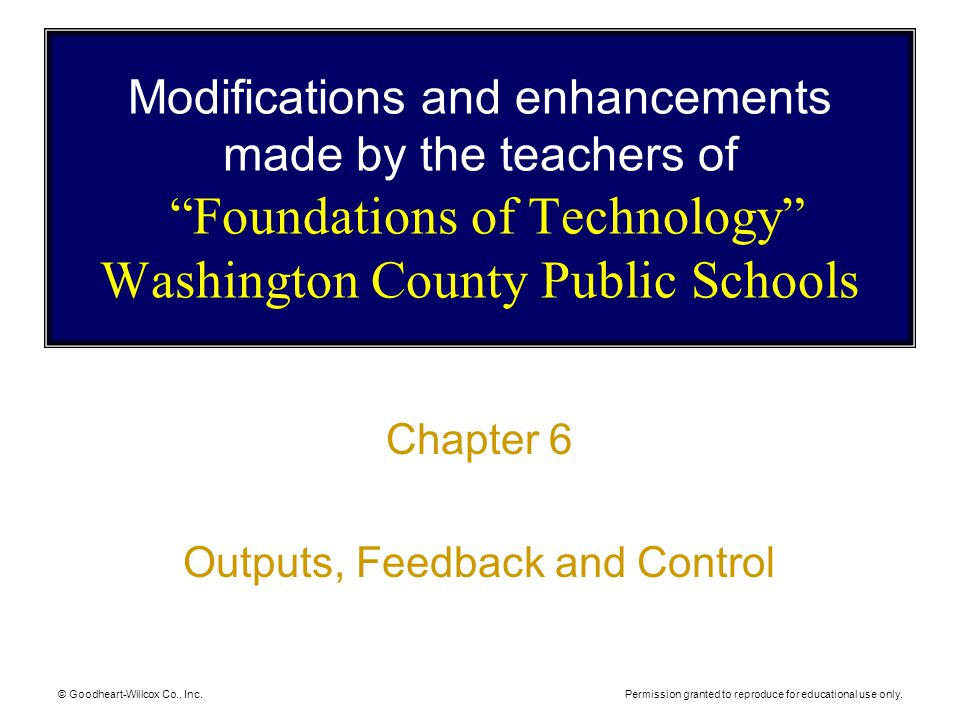 Outputs, Feedback and Control