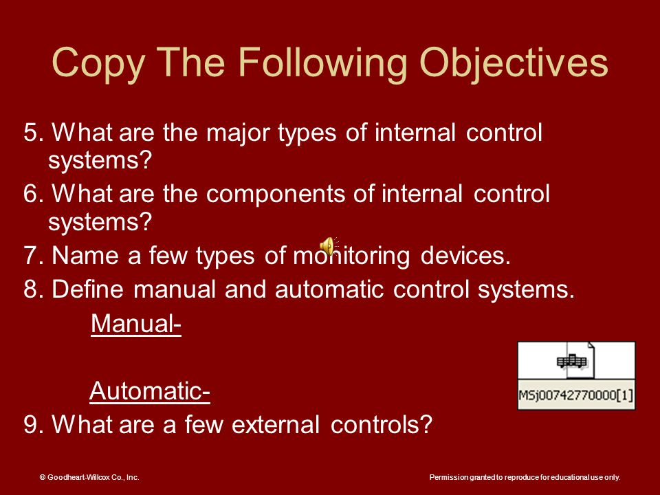 Copy The Following Objectives