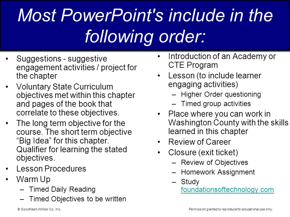 Most PowerPoint s include in the following order: