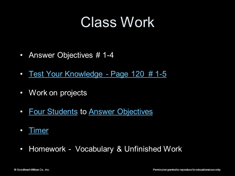 Class Work Answer Objectives # 1-4