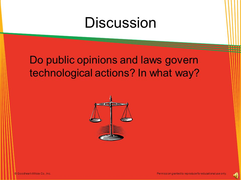 Discussion Do public opinions and laws govern technological actions In what way Discusión.