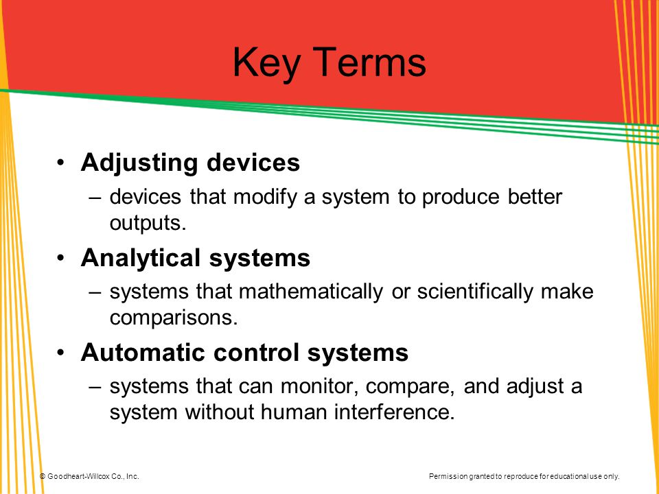 Key Terms Adjusting devices Analytical systems
