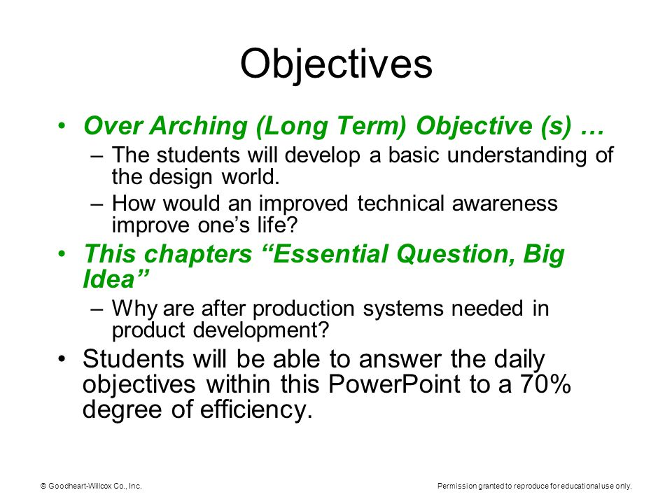 Objectives Over Arching (Long Term) Objective (s) …
