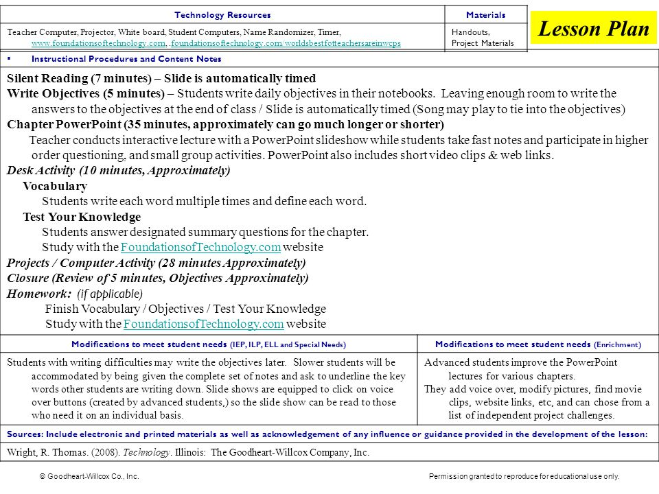 Lesson Plan Silent Reading (7 minutes) – Slide is automatically timed