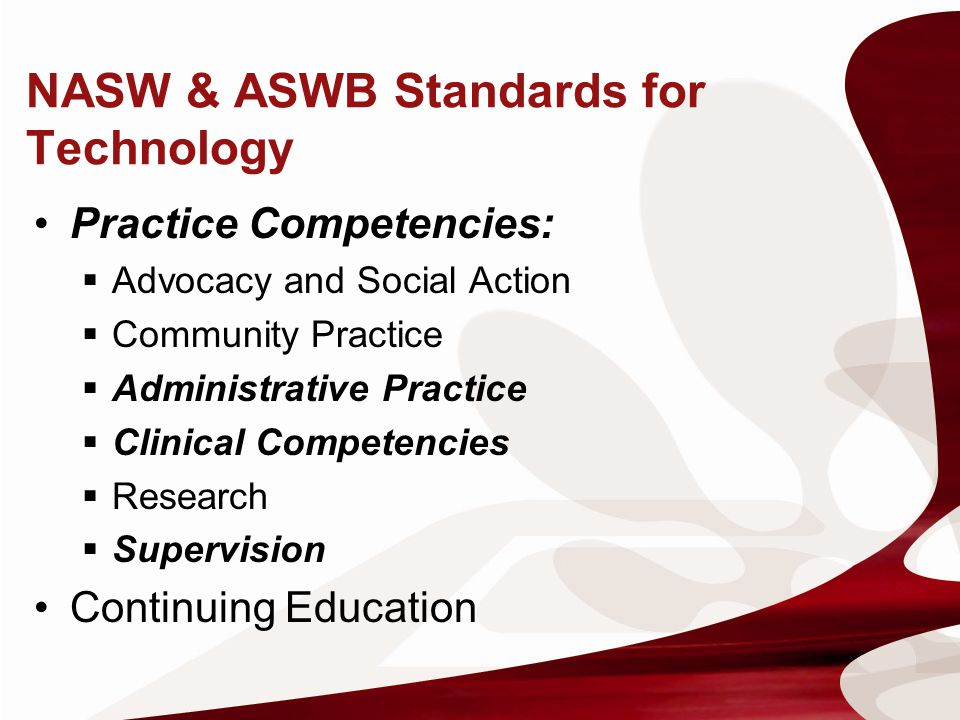 NASW & ASWB Standards for Technology